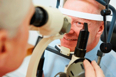 vision exam with a slit lamp